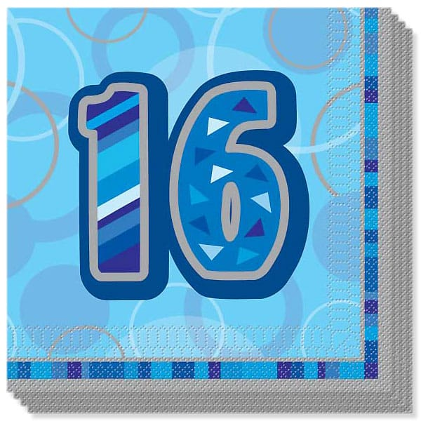 Blue Glitz 16th Birthday 3 Ply Luncheon Napkins - 13 Inches / 33cm - Pack of 16