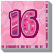 Pink Glitz 16th Birthday 3 Ply Luncheon Napkins – 13 Inches / 33cm – Pack of 16