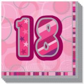 Pink Glitz 18th Birthday 3 Ply Luncheon Napkins – 13 Inches / 33cm – Pack of 16