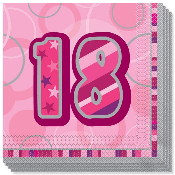 Pink Glitz 18th Birthday 3 Ply Luncheon Napkins - 13 Inches / 33cm - Pack of 16