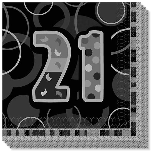 Black Glitz 21st Birthday 3 Ply Luncheon Napkins - 13 Inches / 33cm - Pack of 16