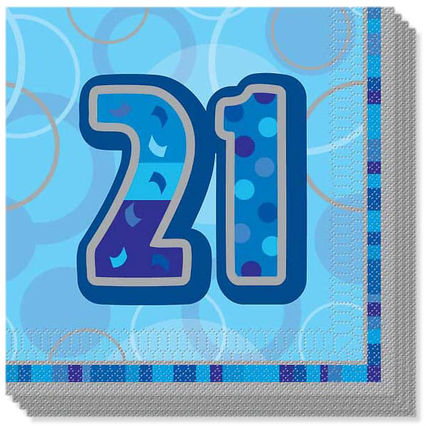 Birthday Stripes 21st Birthday 3-Ply Lunch Napkins 16 pack