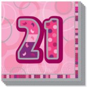 Pink Glitz 21st Birthday 3 Ply Luncheon Napkins – 13 Inches / 33cm – Pack of 16