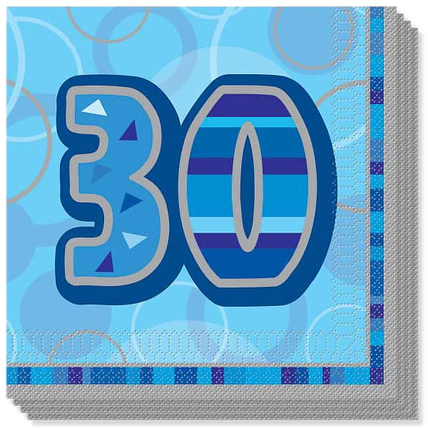 Blue Glitz 30th Birthday 3 Ply Luncheon Napkins - 13 Inches / 33cm - Pack of 16