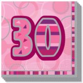 Pink Glitz 30th Birthday 3 Ply Luncheon Napkins – 13 Inches / 33cm – Pack of 16