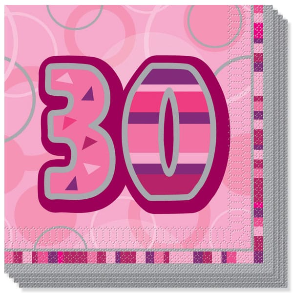 Pink Glitz 30th Birthday 3 Ply Luncheon Napkins - 13 Inches / 33cm - Pack of 16