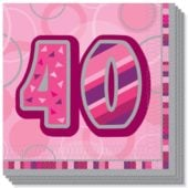 Pink Glitz 40th Birthday 3 Ply Luncheon Napkins – 13 Inches / 33cm – Pack of 16