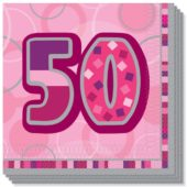 Pink Glitz 50th Birthday 3 Ply Luncheon Napkins – 13 Inches / 33cm – Pack of 16