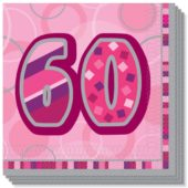 Pink Glitz 60th Birthday 3 Ply Luncheon Napkins – 13 Inches / 33cm – Pack of 16