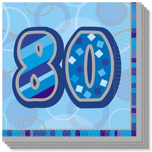 Blue Glitz 80th Birthday 3 Ply Luncheon Napkins - 13 Inches / 33cm - Pack of 16