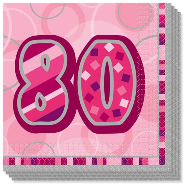 Pink Glitz 80th Birthday 3 Ply Luncheon Napkins - 13 Inches / 33cm - Pack of 16