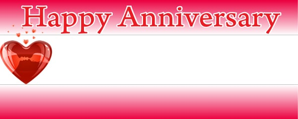 happy anniversary heart design small personalised banner 4ft x 2ft