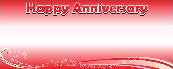 Happy Anniversary Red Floating Hearts Design Medium Personalised Banner - 6ft x 2.25ft