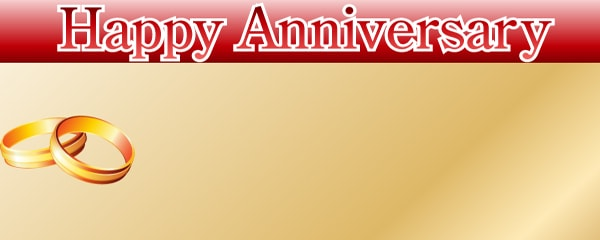 Anniversary Red Banner Gold Rings Personalised Banner | Partyrama ...