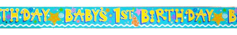 Baby's 1st Birthday' Foil Banner - 12 Ft / 366cm