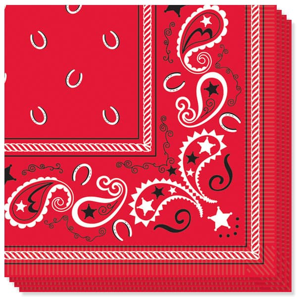 Bandana Theme 2 Ply Luncheon Napkins - 13 Inches / 33cm - Pack of 16