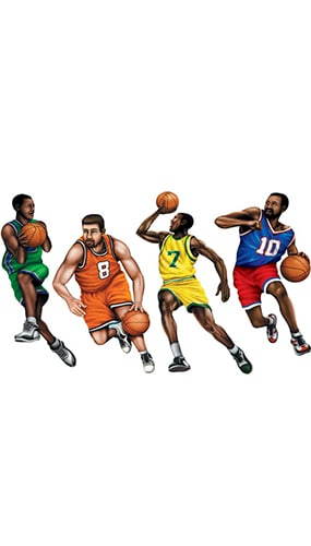 Basketball Decorative Cutouts - 20 Inches / 51cm - Pack of 4