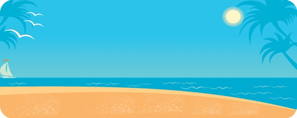 Sunset on the Beach Design Medium Personalised Banner - 6ft x 2.25ft