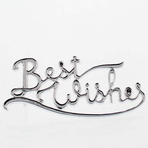 Silver 'Best Wishes' Cake Topper