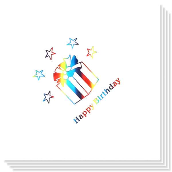 Birthday Present multi Coloured Foil Print 3 Ply Napkins - 13 Inches / 33cm - Pack of 15