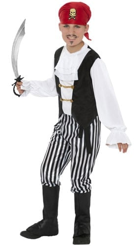 Black and White Pirate Costume 9 - 12 Years Childrens Fancy Dress
