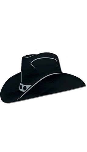 Black Cowboy Hat Decorative Cutout - 19 Inches / 48cm