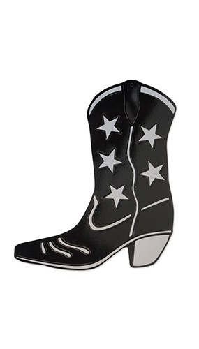 Black Foil Cowboy Boot Decorative Cutout - 16 Inches / 41cm
