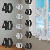 Black Glitz 40th Birthday Hanging Decoration 5 Ft 152cm Pack Of 6 Strings