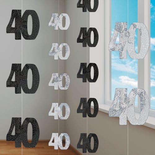 Black Glitz 40th Birthday Hanging Decoration 5 Ft