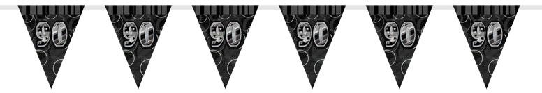 Black Glitz 90th Birthday Bunting - 12 Ft / 366cm