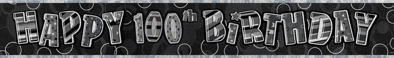 Black Glitz 100th Birthday Prismatic Banner – 12 Ft / 366cm