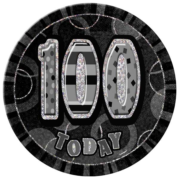 Black Glitz 100th Birthday Badge - 6 Inches / 15cm