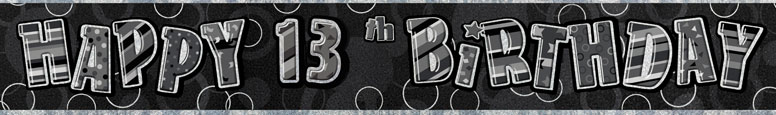 Black Glitz 13th Birthday Prismatic Banner 274cm