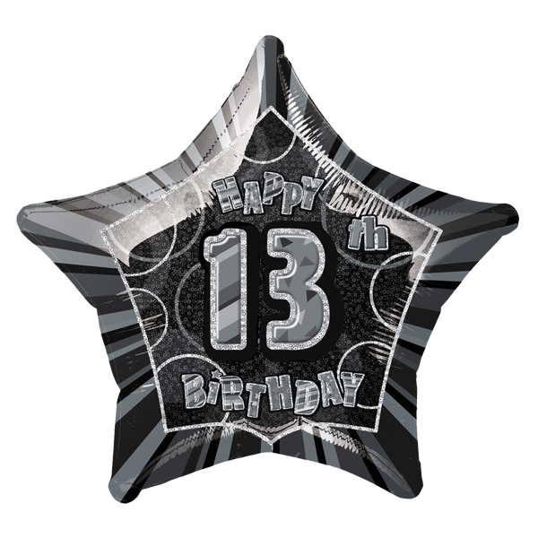 Black Glitz Age 13 Happy Birthday Prismatic Foil Helium Balloon 51cm / 20Inch