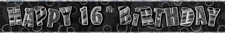 Black Glitz 16th Birthday Prismatic Banner 274cm