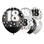 Black Glitz 18th Latex Balloons 12 Inches 30cm Pack Of 6 Assorted