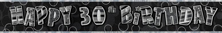 Black Glitz 30th Birthday Prismatic Banner 274cm