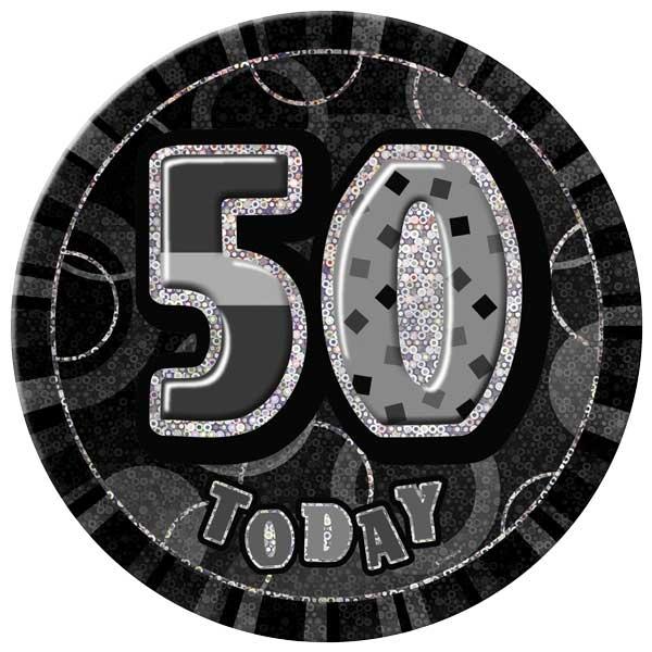 Black Glitz 50th Birthday Badge - 6 Inches / 15cm