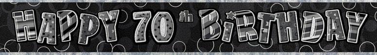 Black Glitz 70th Birthday Prismatic Banner 274cm