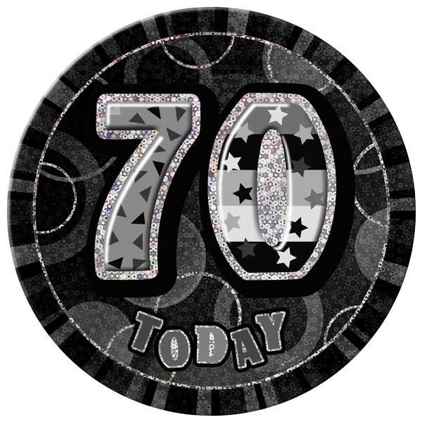 Black Glitz 70th Birthday Badge - 6 Inches / 15cm