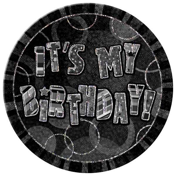 Black Glitz Happy Birthday Badge - 6 Inches / 15cm