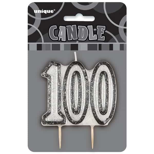 Black Glitz Theme Number Candle - Number 100