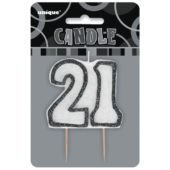 Black Glitz Theme Number Candle 21