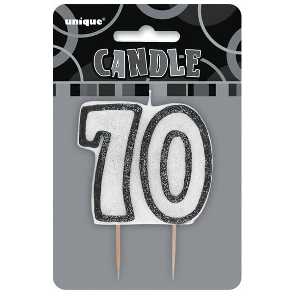 Black Glitz Theme Number Candle - Number 70