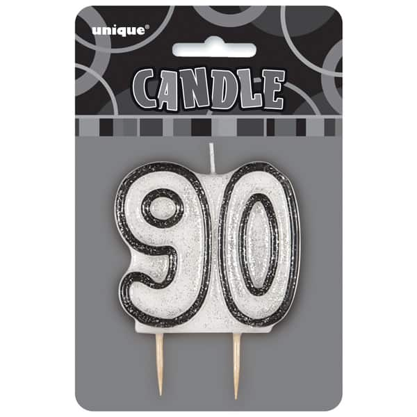 Black Glitz Theme Number Candle - Number 90