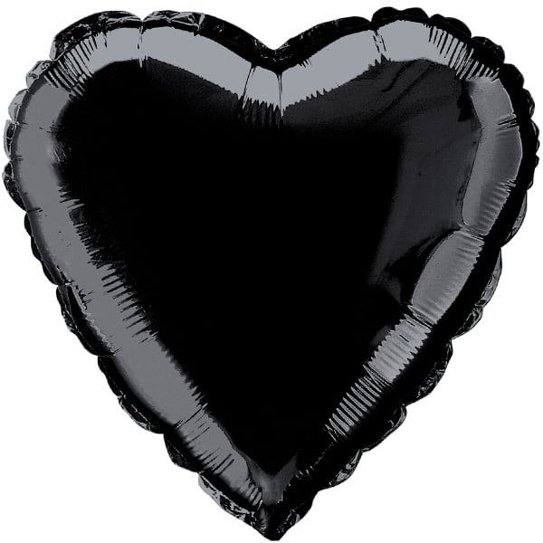 Black Heart Foil Helium Balloon 46cm / 18Inch