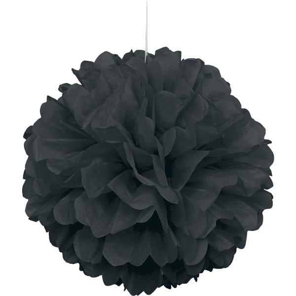 Black Honeycomb Hanging Decoration Puff Ball 40cm Product Image