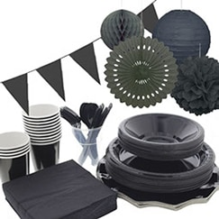 Black plain tableware