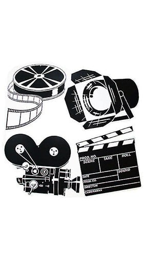 Black & White Movie Set Assorted Decorative Cutouts - 16 Inches / 41cm - Pack of 4