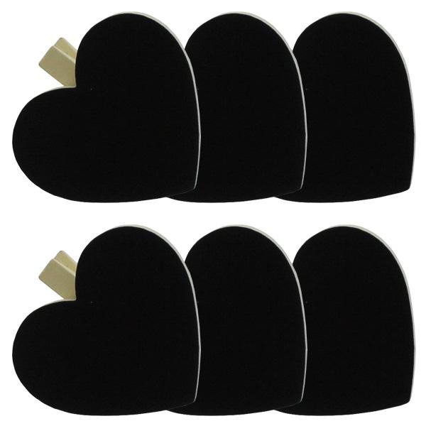 Blackboard Heart Ivory Clips - Pack of 6